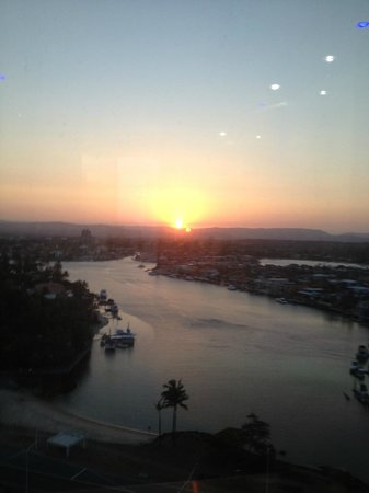 Capricorn One:                   sunset view from the elevator