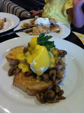 GBT - Golden Beach Tavern:                   poached eggs mushrooms hollandaise sauce with sour dough bread.