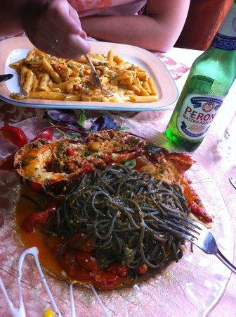cristina restaurant:                   black spaguetti with lobster