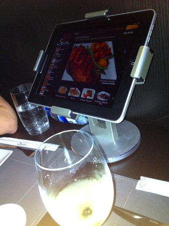 San Fusion Food: The menu on an iPad - you can order directly on it!