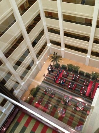 Holiday Inn Orlando – Disney Springs Area:                   View from glass elevator looking down at restaurant