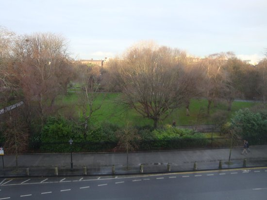 Stauntons on the Green: View from the bedroom, on 3rd floor you can see into Saint Stephen's Green Park