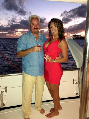 Private Yacht Charter SXM:                   Sunset Champagne Toast on our boat in Gustavia Bay