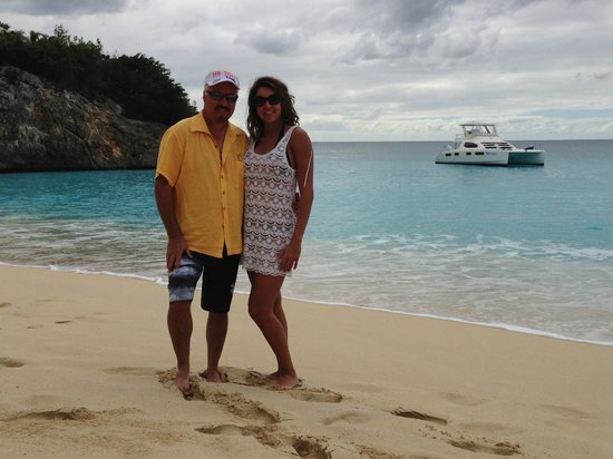 "Private Yacht Charter SXM:                   Stop at Shell Beach, ""our"" boat in the background"