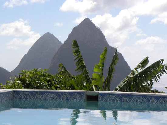 Crystals St Lucia: View outside our door - the Pitons at their best!