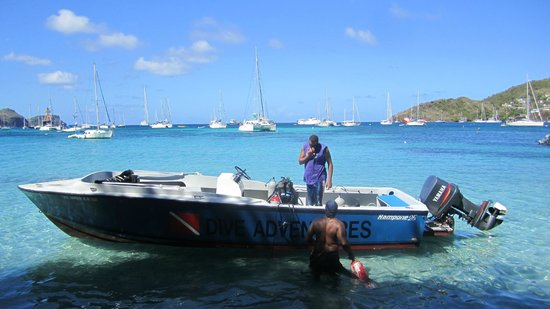 Bequia Dive Adventures:                   Loading up our gear