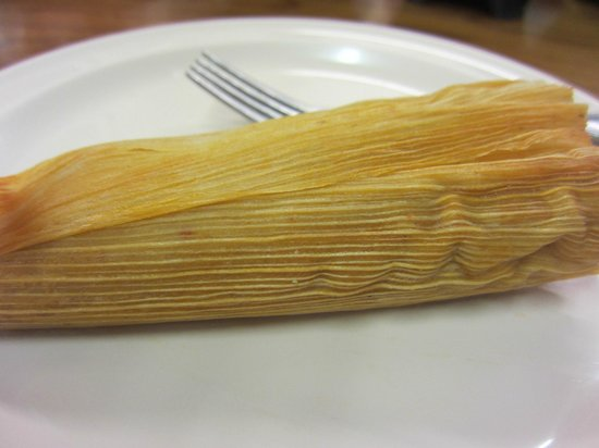 Acapulco Mexican Grocery Y Taqueria: Burned corn wrapping (tamale)