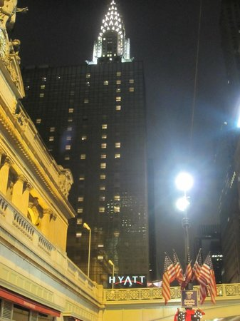 Grand Hyatt New York:                   In all it's glory at night, Chrysler building behind, Grand Central next to th