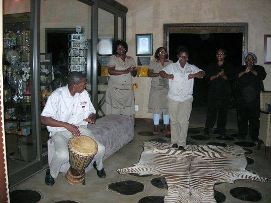 Pumba Private Game Reserve:                   Welcome singing & dancing after a game drive