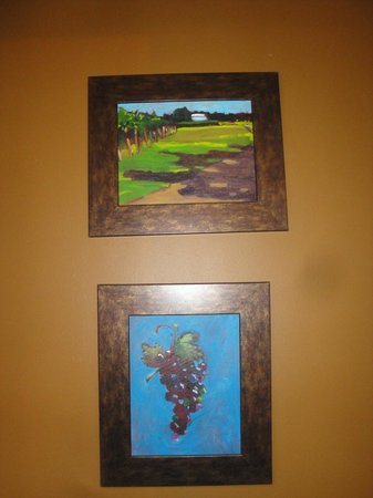 Spicewood Vineyards: 2 vivid, smaller oil paintings near the Tasting Room's bathrooms