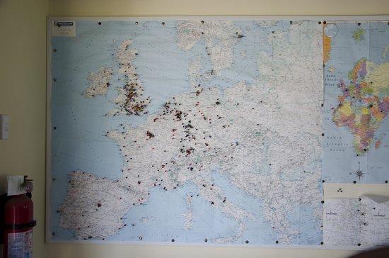 Bellbird Lodge: Detalle en mapa de los visitantes de Bellbird