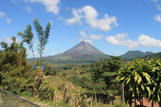 Pizza John's Jardin Escondido:                   Arenal Volcano from the village