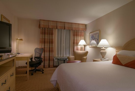 Warm and inviting guest room at the Hilton Garden Inn Mountain View hotel.