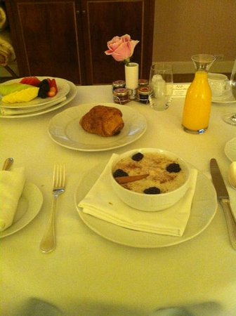 The Westgate Hotel:                   Chocolate Croissant, Oatmeal & Fruit