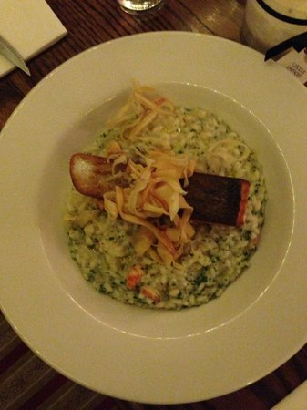 The Monarch Hotel & Church Ruin: Grilled Salmon and Risotto.