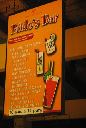 Allegro Papagayo:                   Pool Bar Selection