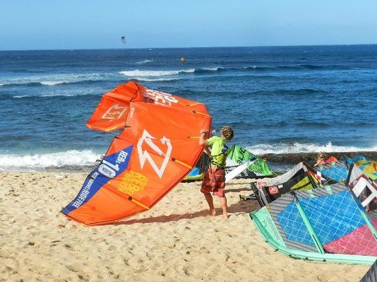 Paia, HI:                   Kite surfing competition at Ho'okipa Beach