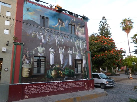 Ajijic Suites:                   mural at plaza nearby