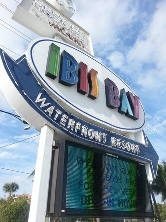 Ibis Bay Beach Resort:                   The brightly-colored Ibis Bay sign welcomes visitors off N. Roosevelt