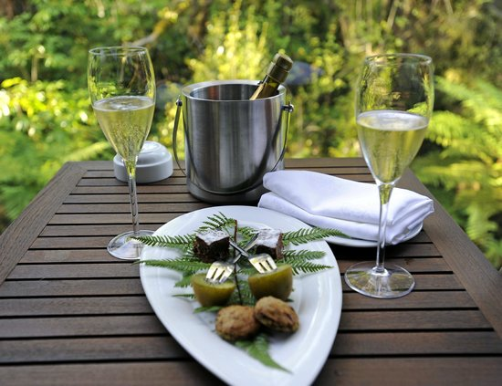 "Te Waonui Forest Retreat:                   ""Welcome"" snack and champagne from hotel"