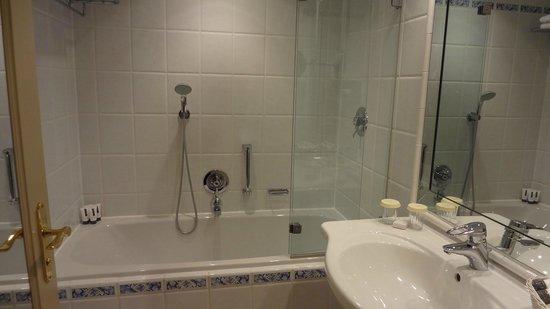 Hotel Nassauer Hof:                                     Bathroom - sink, shower & bath tub.