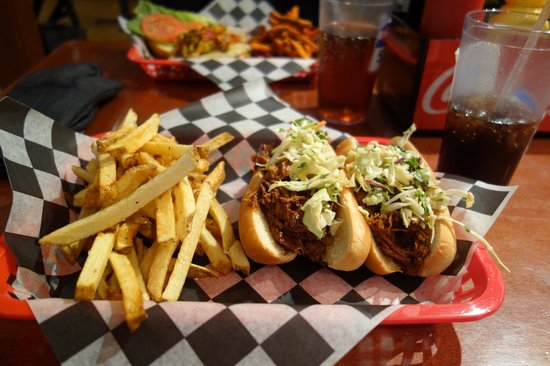 """520 Grill :                   """"The Pig Out"""" - two pulled pork burgers plus hand-cut fries"""