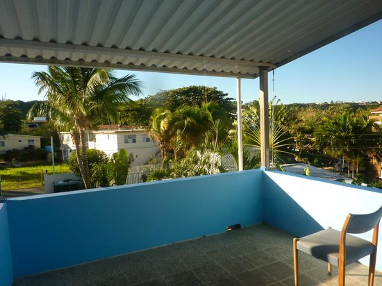 Villa Tropical Oceanfront Apartments on Shacks Beach:                   Patio that faced to the island view