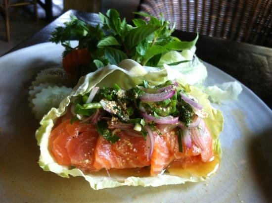 larb pla salmon