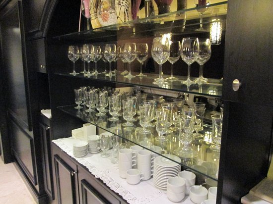 "Grand Durmaz Hotel:                   ""Tea Bar"" stocked with wine glasses"