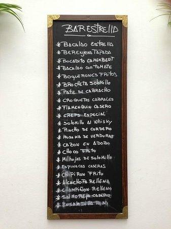 Bar Estrella : Lista de Tapas