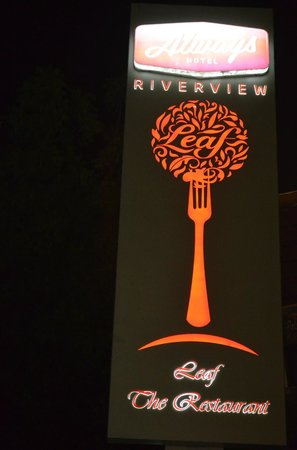 Riverview Hotel:                   logo of the restuarant leaf