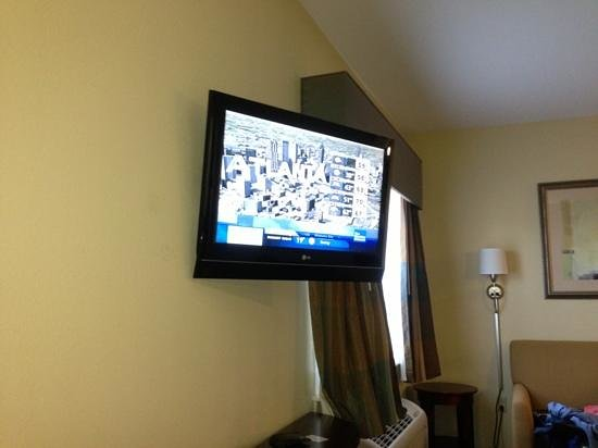 Ecco Suites:                   odd TV position next to bed