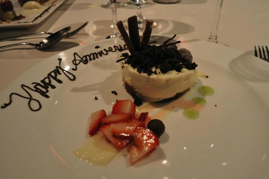 George Restaurant: They put happy anniversary on the plate. Appreciate their gesture but that was not the occasion.