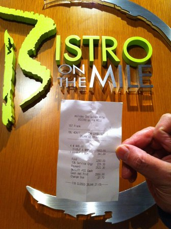 Bistro on the Mile at Holiday Inn Golden Mile:                                     ~ the bill at the bistro ~
