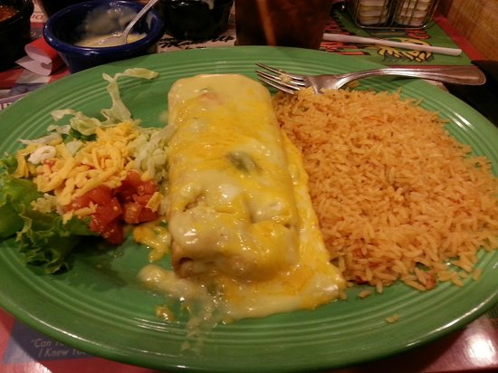 Tarahumara's Mexican Cafe:                   Beef Chimichanga with cheese sauce, small salad with rice only