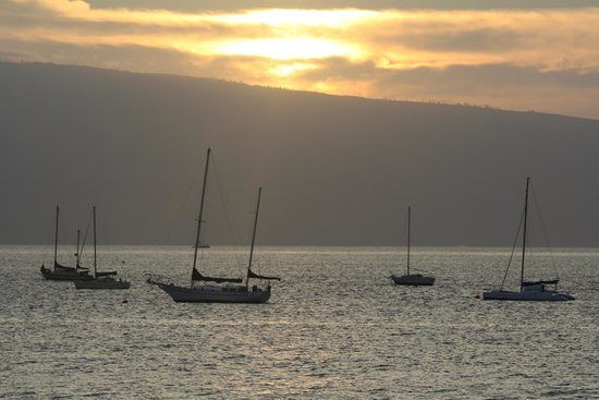 Five Palms Lahaina :                   Sunset from the Five Palms deck...