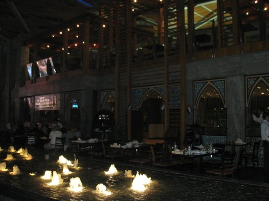 Xclusive Hotel Apartments: Hatam restaurant in Burjuman Mall with fountains