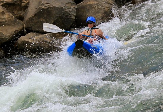 Flexible Flyers Rafting: Single inflatable kayak, low water