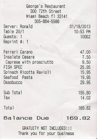 Receipt Picture Of George S Italian Restaurant And