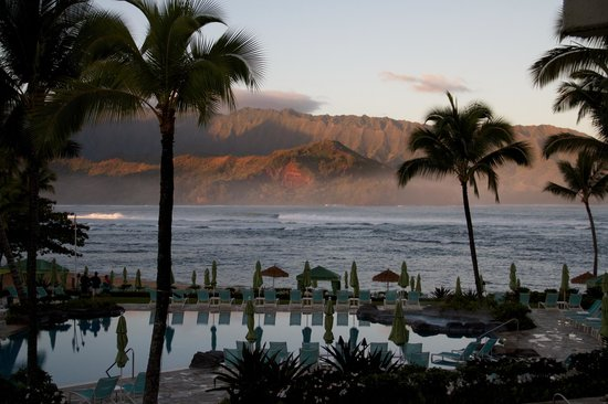 St. Regis Princeville Resort:                   View from our room, sunrise (Rm 219)