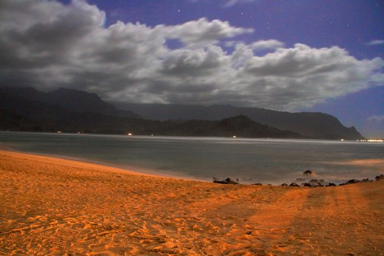 St. Regis Princeville Resort:                   Hanalei Bay at Night