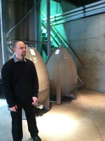 Quintessa Winery: guide jared and the fermentation eggs