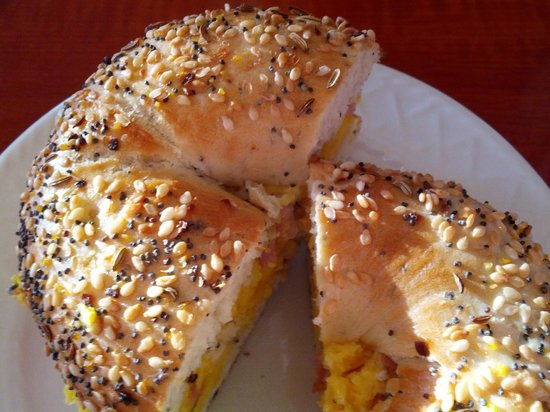 Cuppers Coffee House : The breakfast egg sandwich on an everything bagel