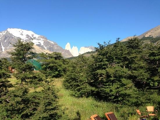 Ecocamp Patagonia:                   view of towers from ecocamp.