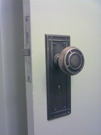 Finlen Hotel and Inn: lovely vintage doorknob retrofitted to room door - beautiful touch