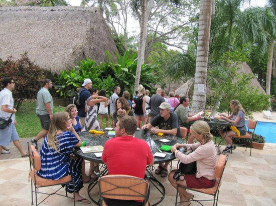 The Lodge at Chichen Itza:                   The bus buffetr crowd ,,, standing room only
