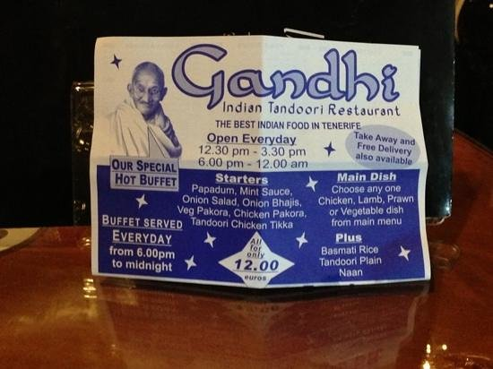 Gandhi ! best Indian in Tenerife !