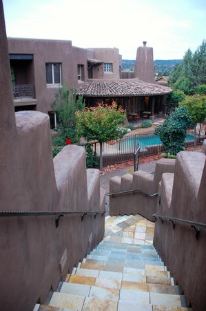 Adobe Grand Villas:                   View from the porch of the Sagebrush View onto hotel grounds