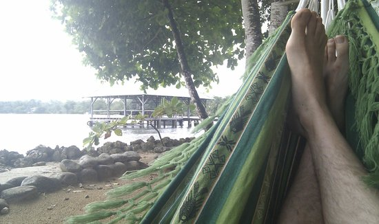 Pukalani Hostal:                   Hammocks: next to the ocean. And see that platform in the water?  It has a *le