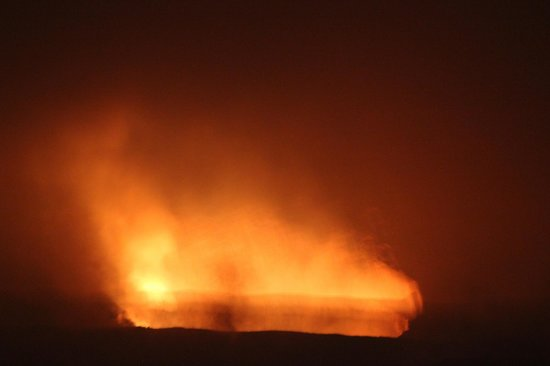 Kilauea Volcano Military Camp: Crater at night